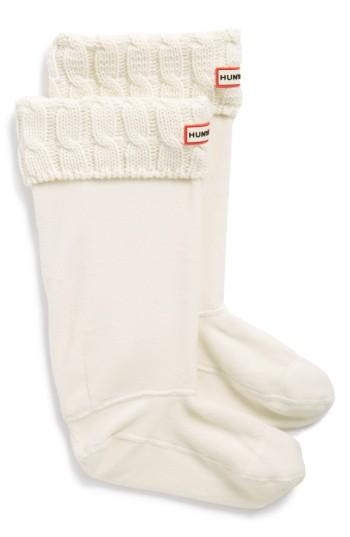 Hunter Original Tall Cable Knit Cuff Welly Boot Socks In Natural White