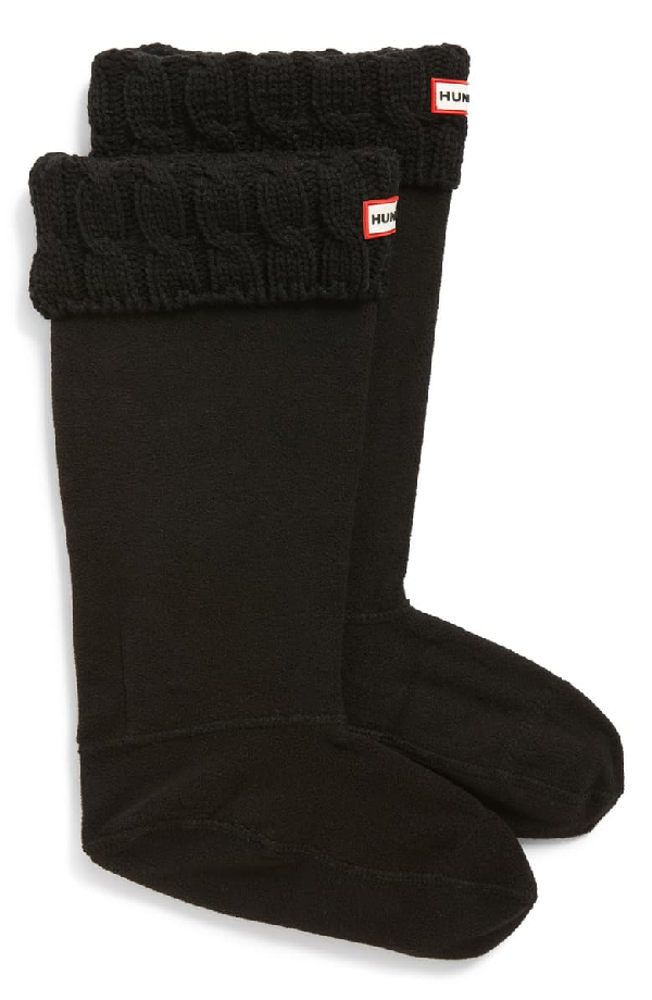 Hunter Original Tall Cable Knit Cuff Welly Boot Socks In Black