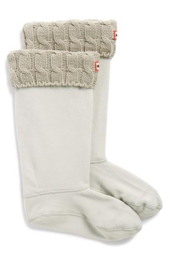 Hunter Original Tall Cable Knit Cuff Welly Boot Socks In Greige