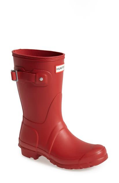 Hunter Original Short Waterproof Rain Boot In Military Red