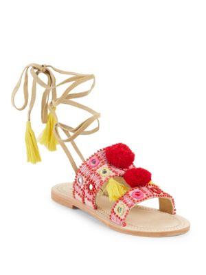 Antik Batik Klarine Leather Open Toe Sandals In Red