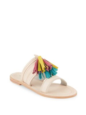 Antik Batik Kasa Tassel Leather Open Toe Sandals In Light Pink
