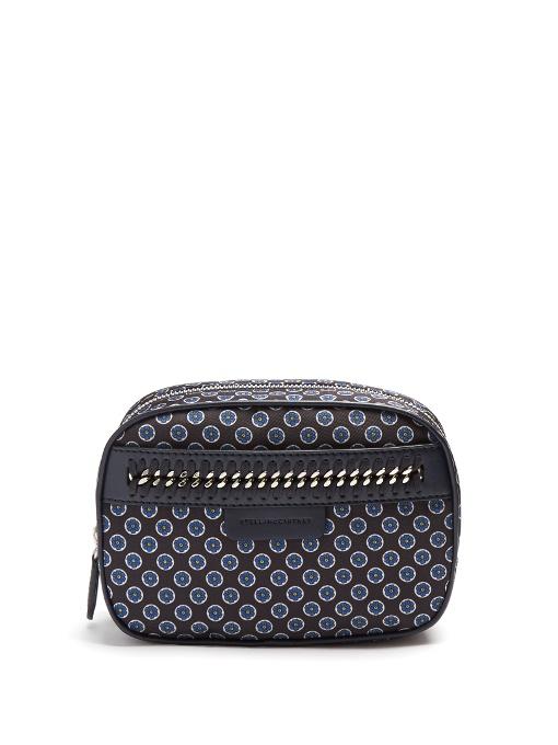 Stella Mccartney Falabella Go Foulard-Print Cosmetics Case In Blue Multi