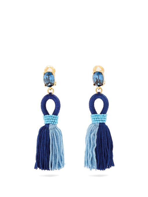 Oscar De La Renta Short Tassel-Drop Clip-On Earrings In Blue