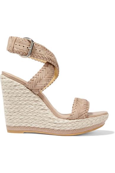 Stuart Weitzman Elixir Braided Leather Espadrille Wedge Sandals In Dove