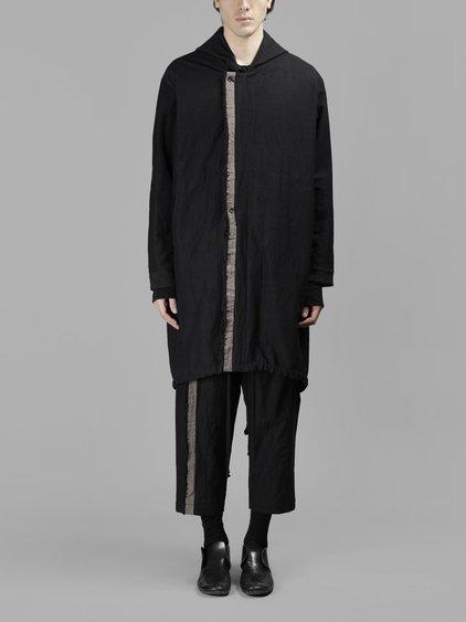Uma Wang Drawstring Hooded Duffle Coat In Black