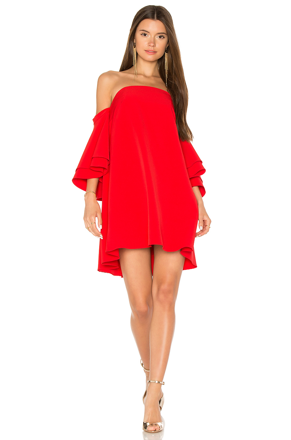 Milly Cady Mila Off-The-Shoulder Dress In Red
