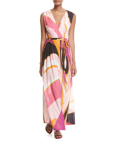 Emilio Pucci Sleeveless Libellula Coverup Maxi Dress In Pink Pattern