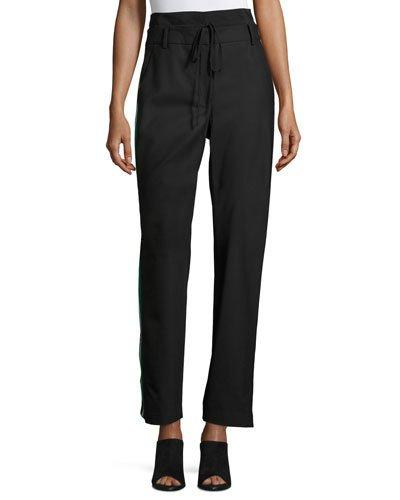 Tibi Dempsey Striped Silk-Trimmed Crepe Straight-Leg Pants In Black