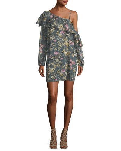 Haute Hippie Your Girl Asymmetric Floral Silk Dress, Multi