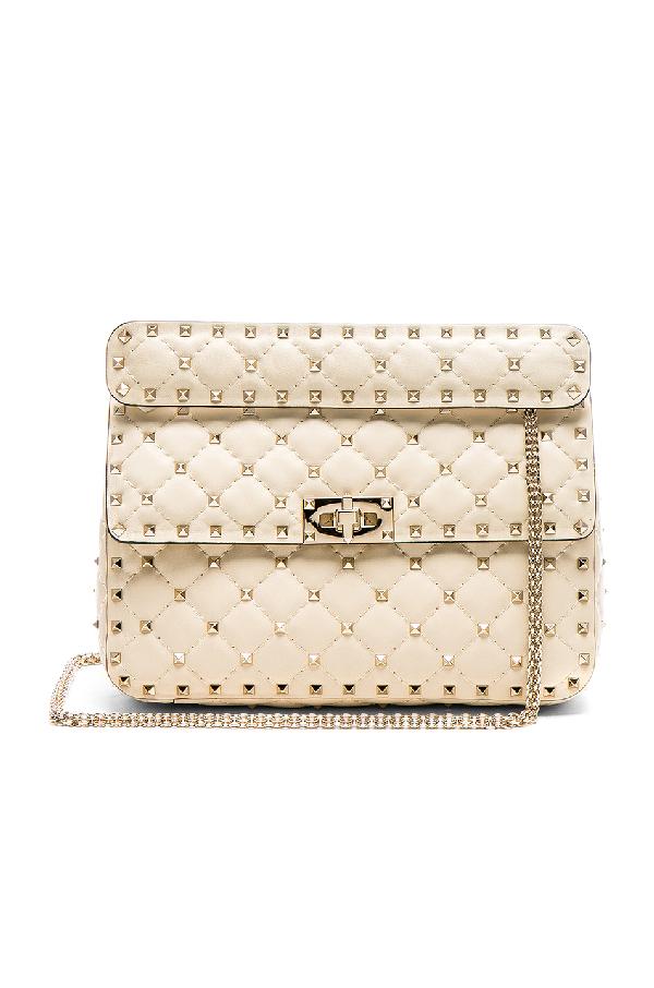 Valentino Medium Leather Rockstud Spike Shoulder Bag In White