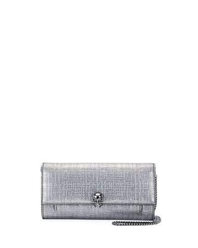 Alexander Mcqueen Lino Embossed Wallet On A Chain, Gray Metallic In Silver