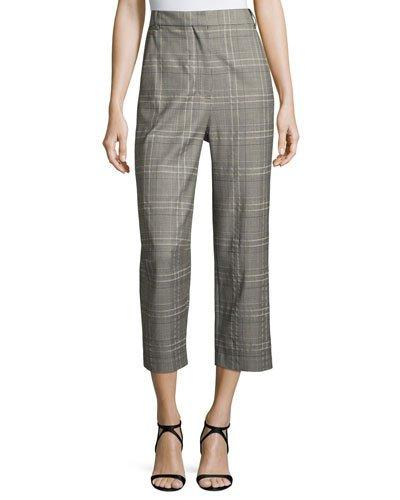 Tibi Jasper Suiting Tailored Pants, Gray Multi