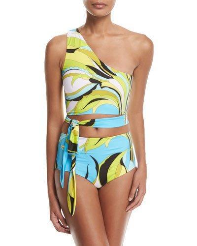 Emilio Pucci Two-Piece Fiore Maya One Shoulder High-Rise Bikini In Blue Pattern