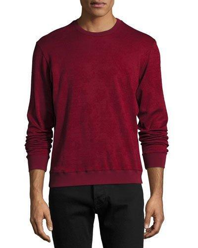 Etro Tonal Jacquard Wool-Cotton Crewneck Sweater, Red In Burgundy