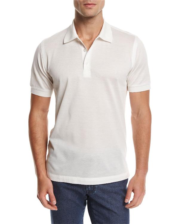 Brioni Cotton Pique Polo Shirt, White