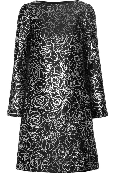 Michael Kors Metallic Floral Jacquard Long-Sleeve Shift Dress, Black