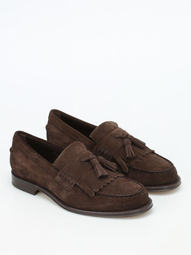 Tod's Fringed Suede Loafers In Brown