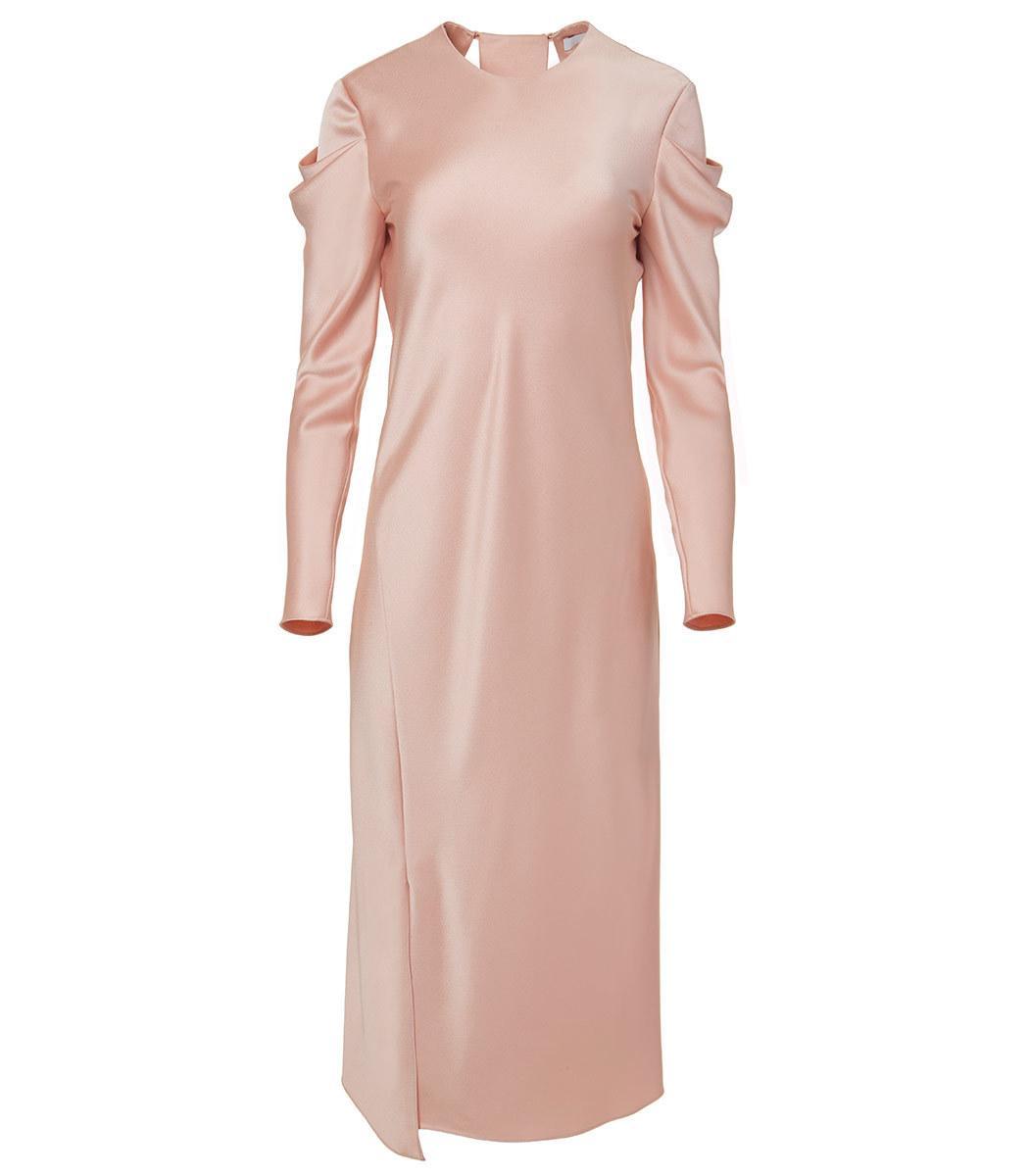 Tibi Blush Celestia Satin Drape Sleeve Dress