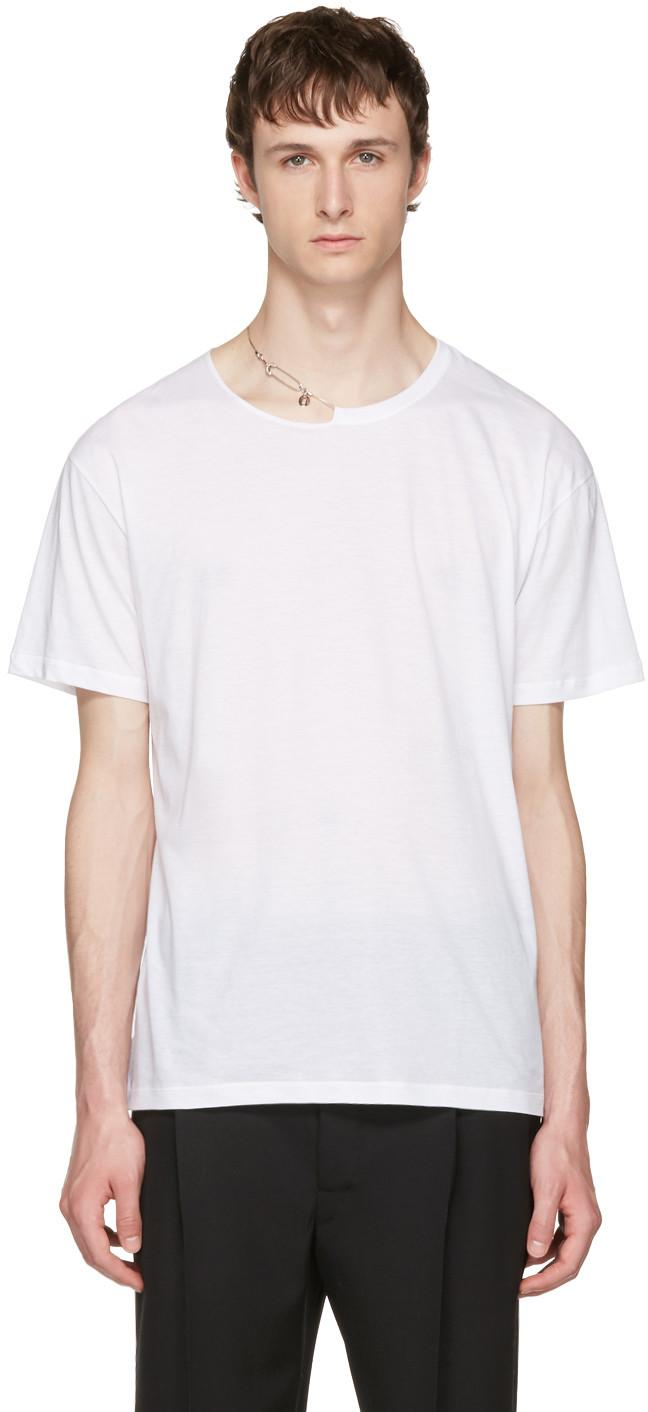 Valentino White Pin Necklace Punk T-Shirt In 0Bo White