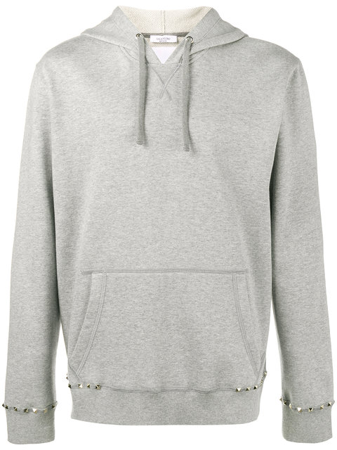 Valentino Rockstud Untitled Hooded Sweatshirt Man Grey Cotton 92%, Polyamide 8% L In Light Gray