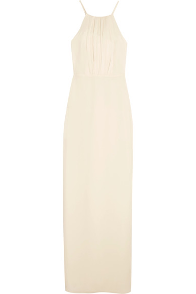 Halston Heritage Round Neck Gown With Flounce Back In Cream