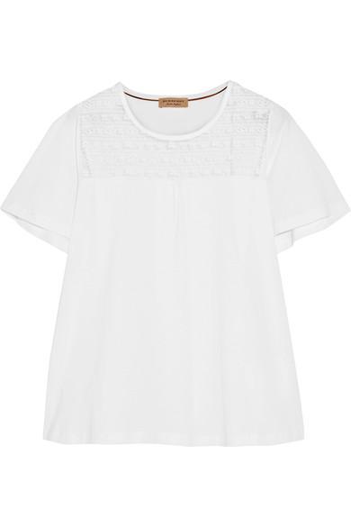 Burberry Lace-Paneled Cotton-Jersey T-Shirt