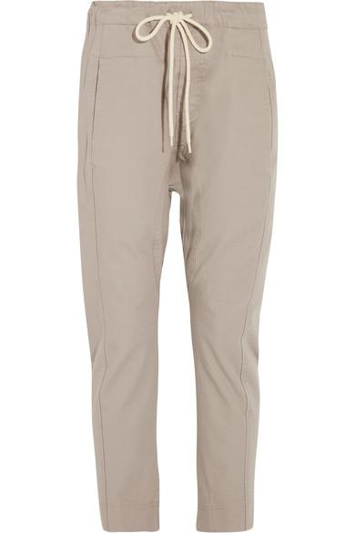 Bassike Cotton-Drill Tapered Pants In Taupe