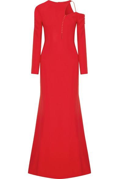 Antonio Berardi Cutout Embellished Stretch-Cady Gown