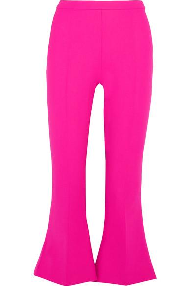 Antonio Berardi Cropped Stretch-Wool Flared Pants In Rosa Fucsia