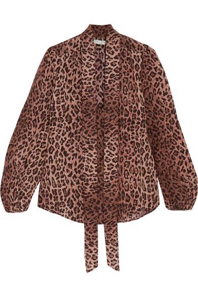 Rixo London Moss Pussy-Bow Leopard-Print Silk-Jacquard Blouse In Leopard Print