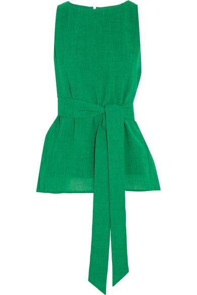 Cefinn Belted Voile Top In Green