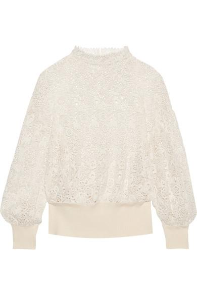 Burberry Ribbed Detail Voluminous Lace Top In Ivory