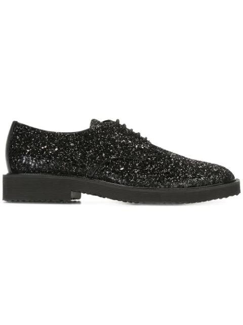 Giuseppe Zanotti Glitter Derby Lace-up Shoes, Black