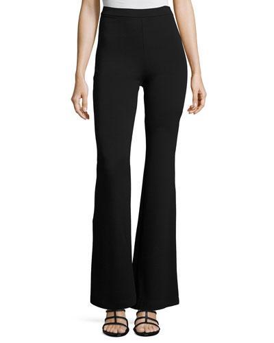 Fuzzi High-Rise Flared Trousers, Black