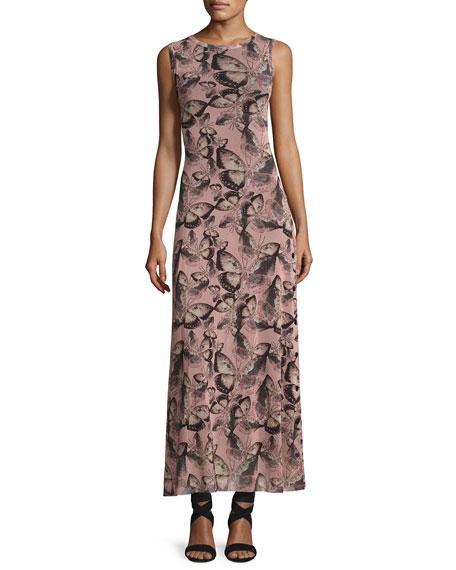 Fuzzi Sleeveless Butterfly-Print Maxi Dress, Pink Multi In Pink Pattern