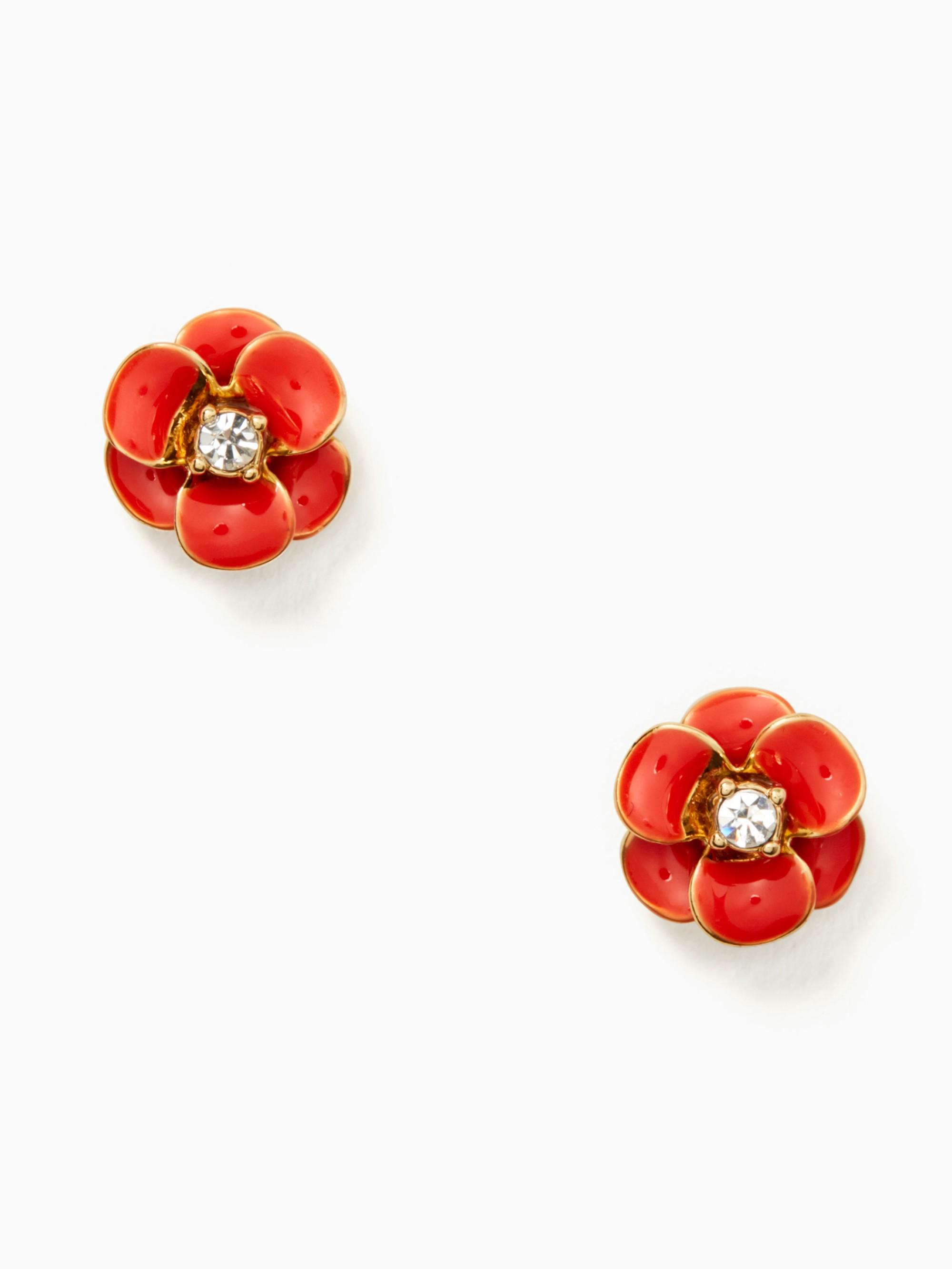 Kate Spade Shine On Flower Studs In Red