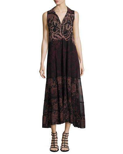 Fuzzi Collared V-Neck Floral Lace-Print Midi Dress, Black Multi In Black Pattern