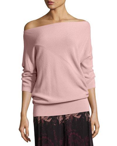 Fuzzi 3/4-Sleeve Off-The-Shoulder Wool Sweater, Light Pink