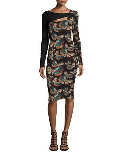 Fuzzi Long-Sleeve Butterfly-Print Cutout Sheath Dress In Nero