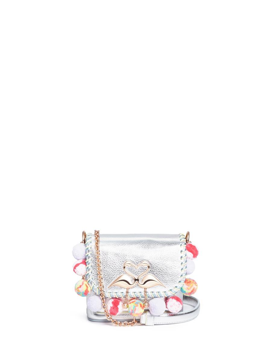 Sophia Webster 'Claudie' Pompom Flamingo Charm Leather Flap Bag