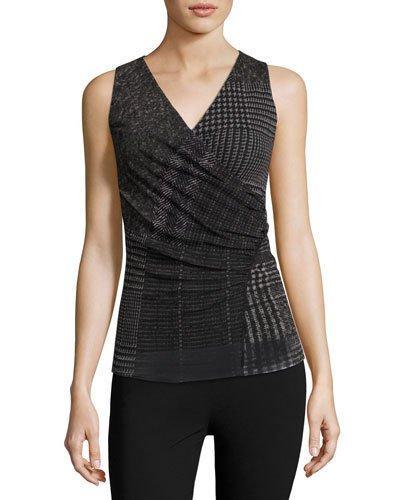 Fuzzi Sleeveless Check-Print Top, Black
