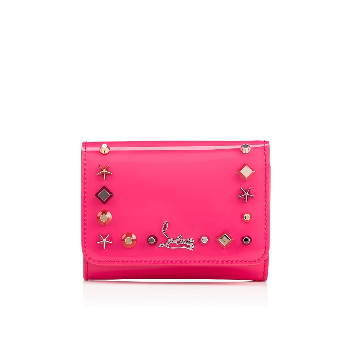 Christian Louboutin Macaron Spiked Patent-Leather Wallet In Darling