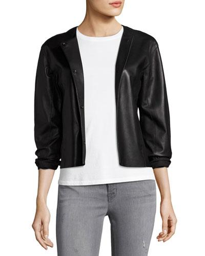 J Brand Cecilia Snap-Front Leather Jacket, Black In Leaden