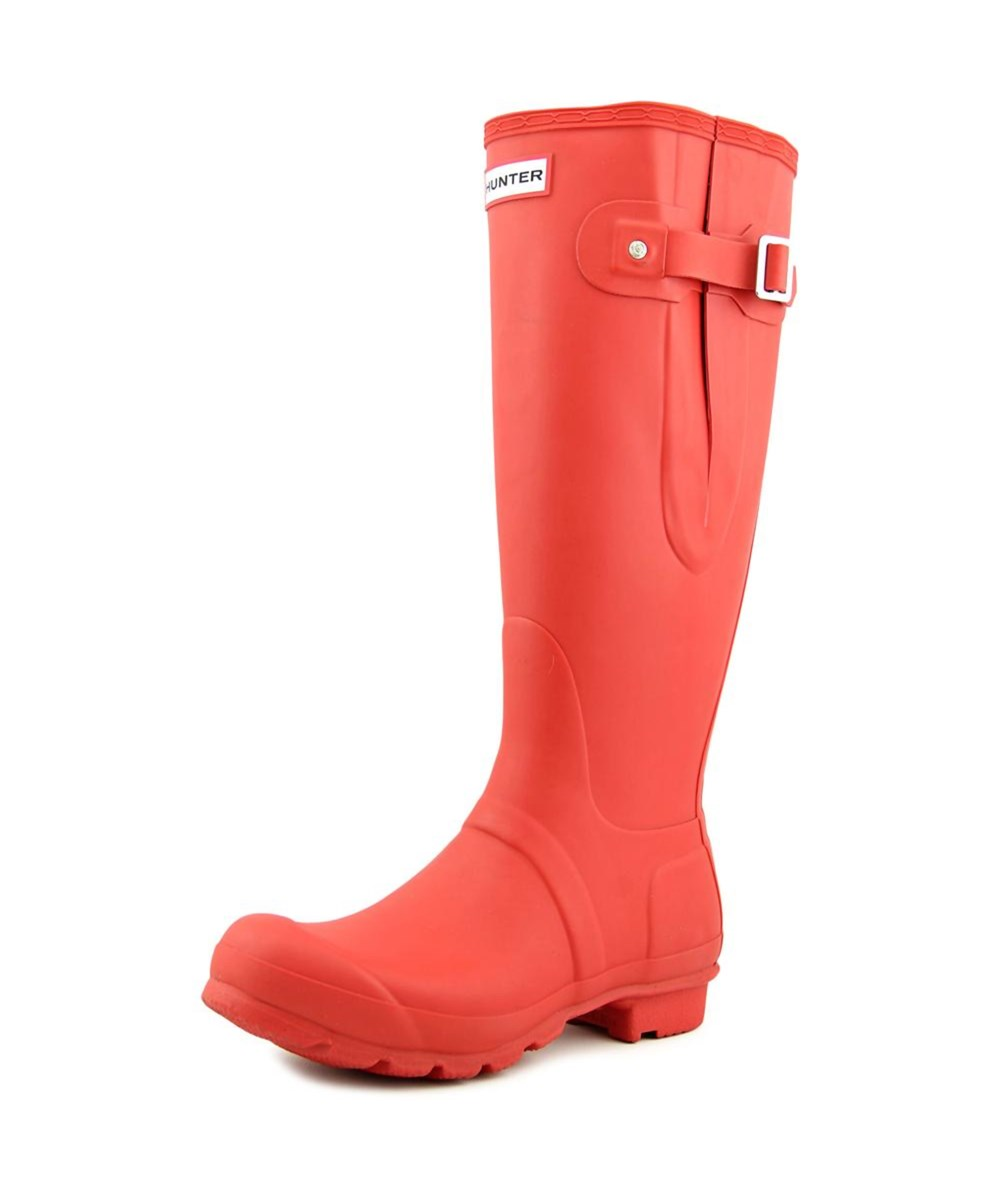 Hunter Original Adjustable Wellington   Round Toe Synthetic  Rain Boot In Red