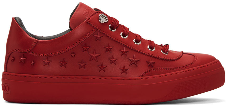 Jimmy Choo Ace Sport Deep Red Leather Low Top Sneakers W/Mixed Stars