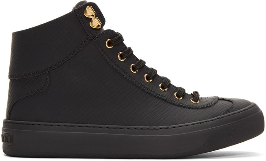 Jimmy Choo Argyle Black Grained Matt Calf Leather High Top Trainers