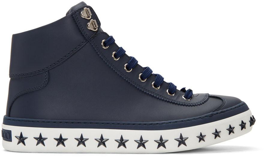 Jimmy Choo Navy Star Sole Argyle High-Top Sneakers In Blue
