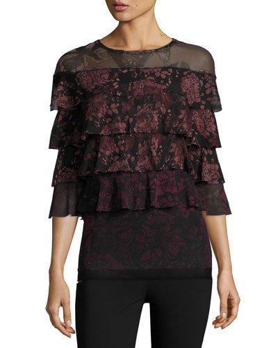 Fuzzi 3/4-Sleeve Ruffled Floral Lace-Print Blouse, Black/Pink In Black Pattern