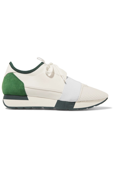 Balenciaga Race Runner Leather, Mesh, Neoprene And Suede Sneakers In White